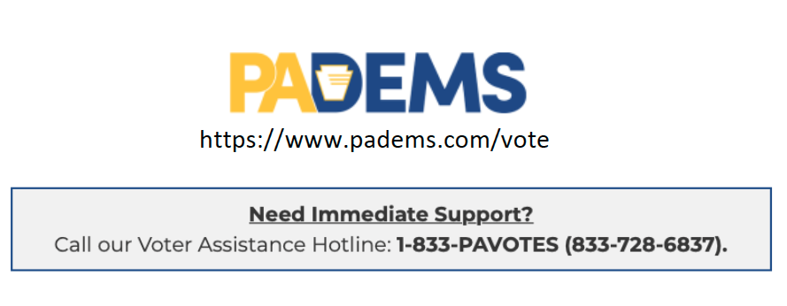 PA Dems Voter Hotline Graphic